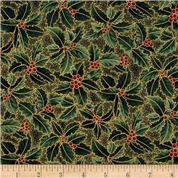 Berries and Blooms Metallic Holly Evergreen/Gold