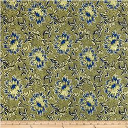 Metallic Brocade Floral Gold/Blue