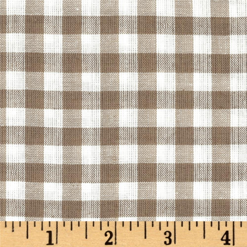 Rustic Woven Shirting Check Natural Taupe Fabric