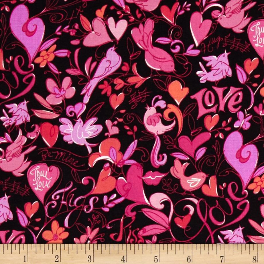 XOXO Birds & Hearts Black