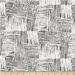 Rayon Challis Abstract Squares Black/Ivory