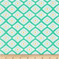 Happy Jungle Diamond Ikat White/Aqua