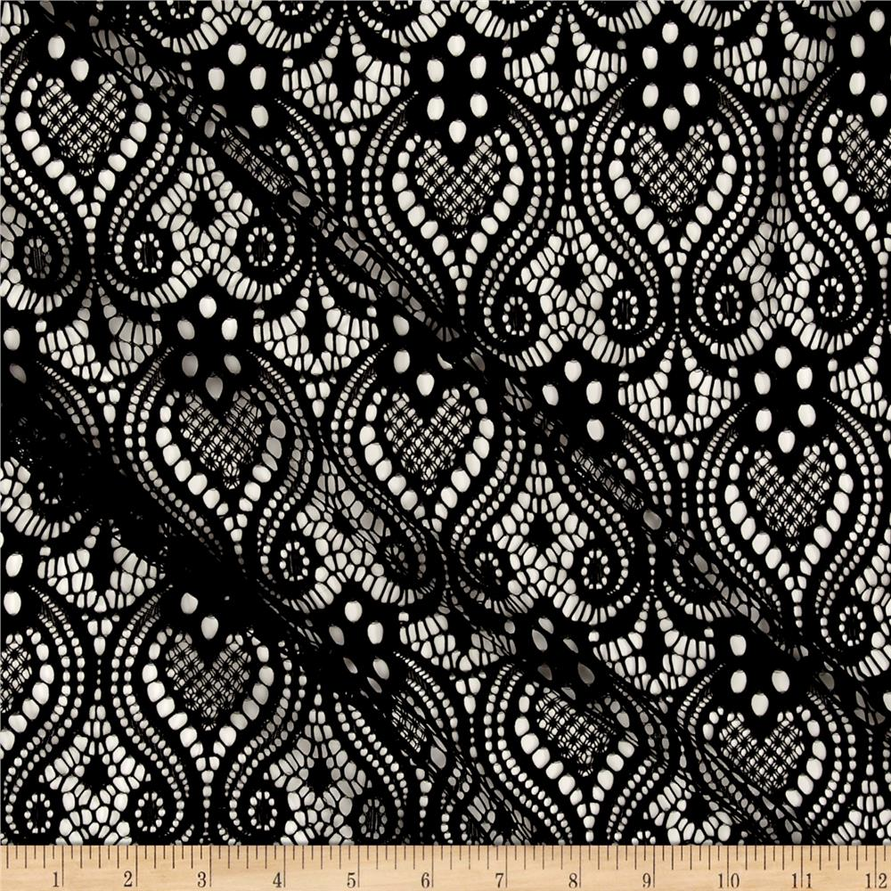 Ornamental lace black discount designer fabric for Black fabric