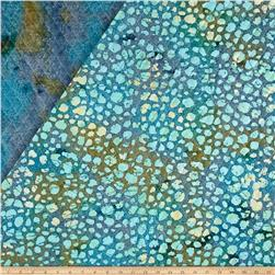 Double Face Quilted Indian Batik Dots Aqua