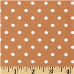 Aunt Polly's Flannel Small Polka Dots Tan/White