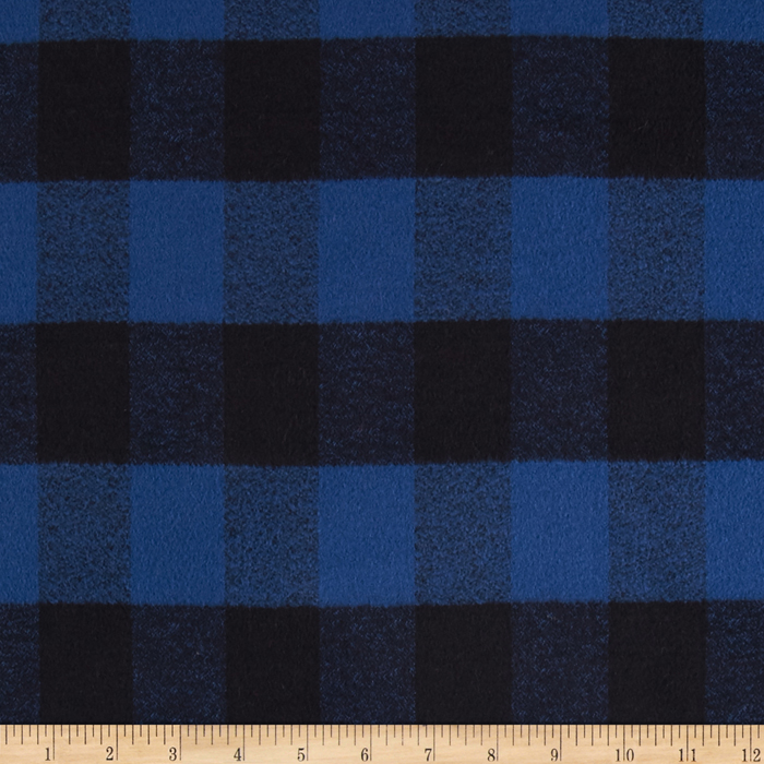 Image of Kaufman Mammoth Flannel Plaid Blue Fabric