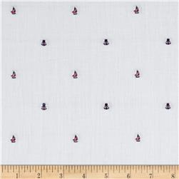 Kaufman Sailors Cotton Dobby Sailboat White