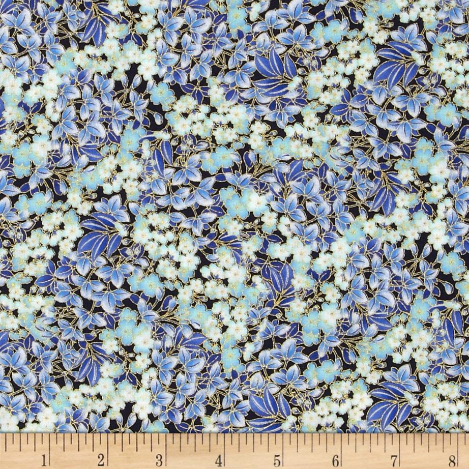 Timeless Treasures Imperial Garden Metallic Cherry Blossom Blue