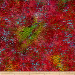Indian Batik Abstract Teal/Olive/Rose