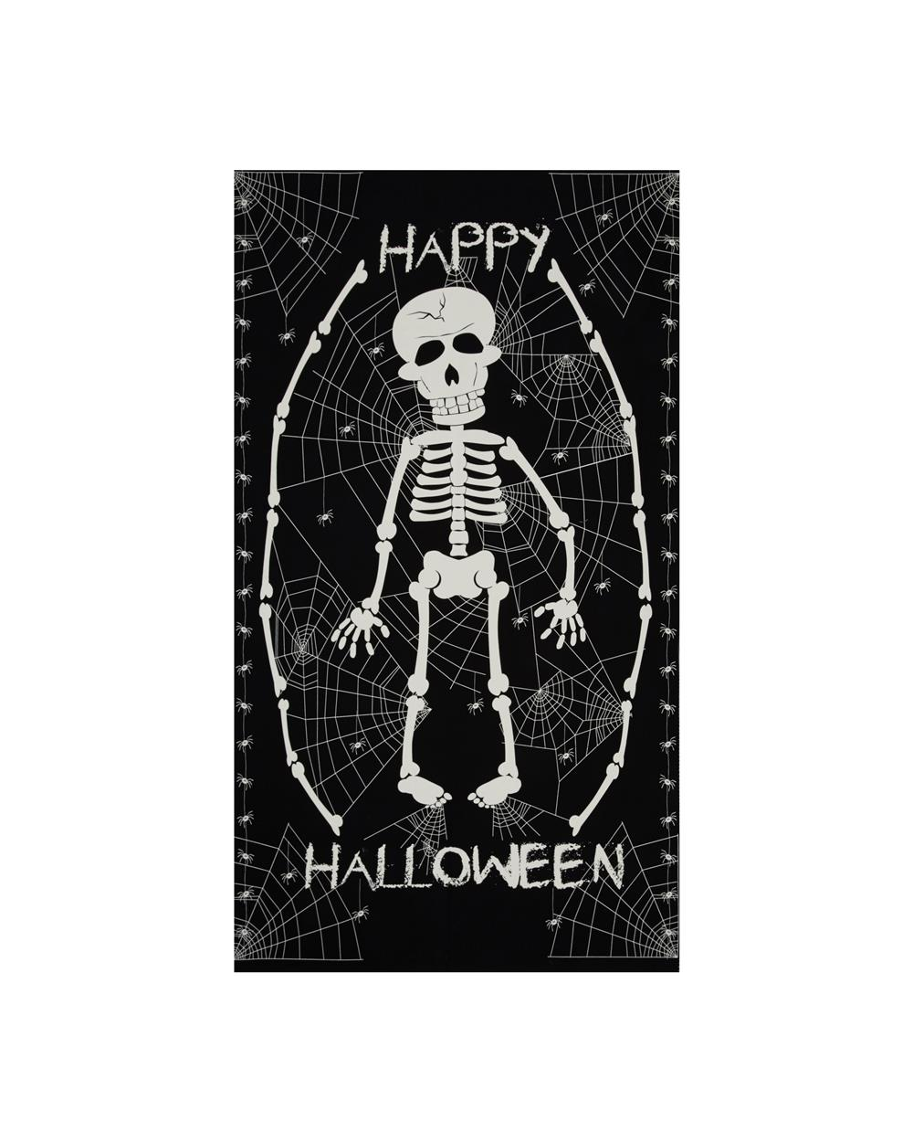 The Boo Crew Glow In The Dark Skeleton 24 In. Panel Black