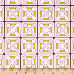 Cotton Poplin retro Tile Pink/Lime