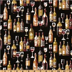 Wine Country Wine Bottles Black Fabric