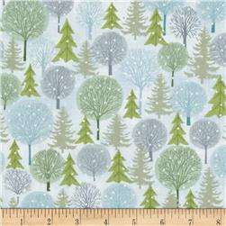 Holiday Cheer Trees White/Blue Fabric