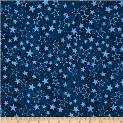 Timeless Treasures Tonga Batiks Stars Navy