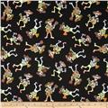 Fabric Fiesta Mariachi Skeletons Black