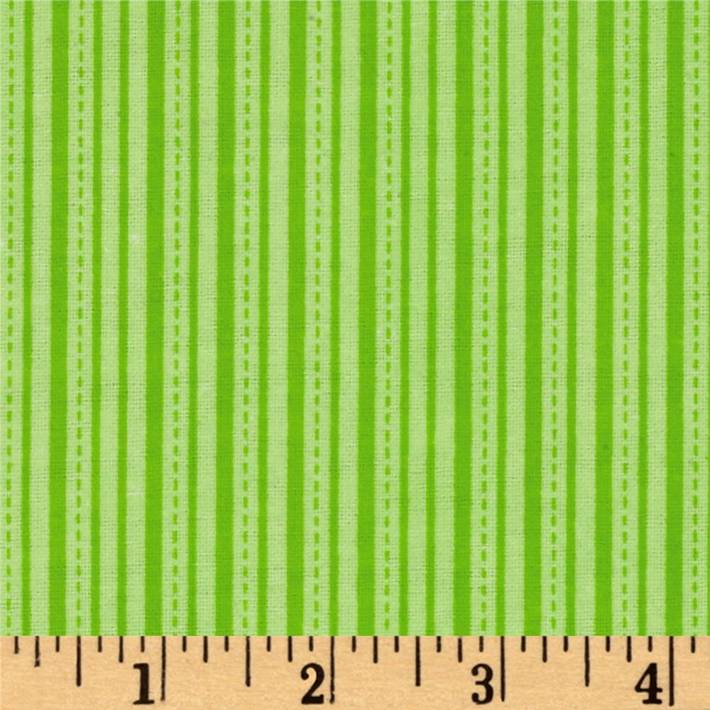 Alpine Flannel Stripe Lime Fabric
