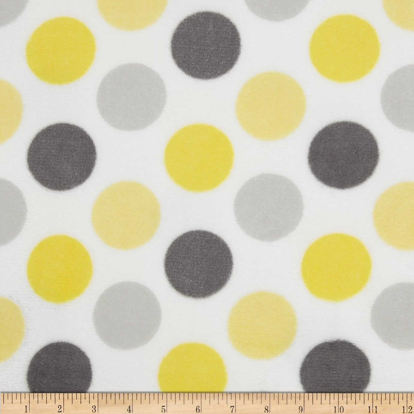 Plush Coral Fleece Polka Dot Grey/Yellow Fabric