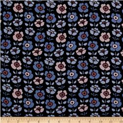 Rayon Challis Print Allover Tulips Blue/Pink