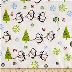 Season's Greetings Snowflakes & Christmas Trees Multi/White