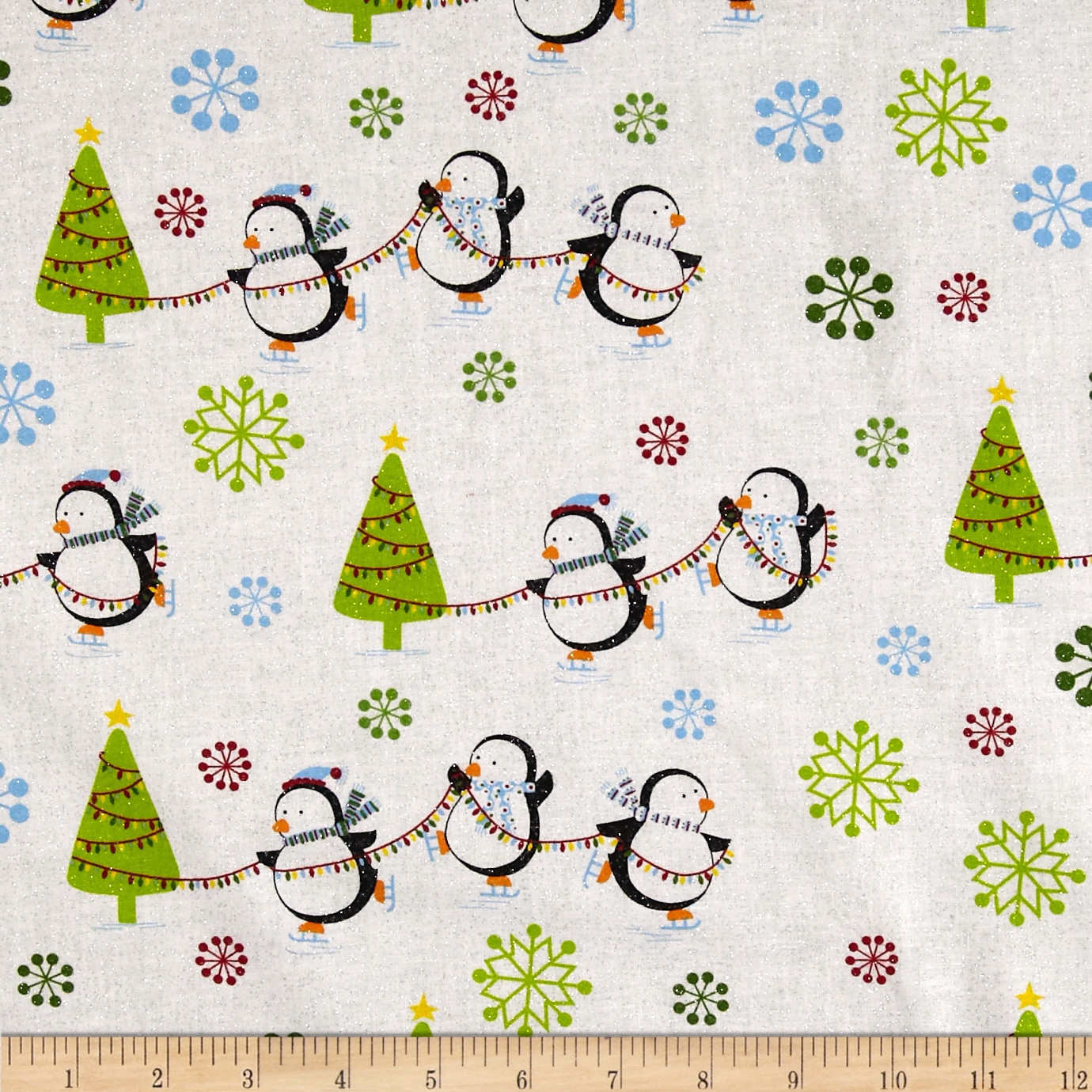Season's Greeting's Snowflakes & Christmas Trees Multi/White