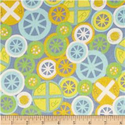 Train Flannel Tossed Train Wheels Blue