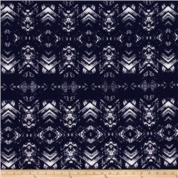 Stretch ITY Jersey Knit Chevron Diamond Navy