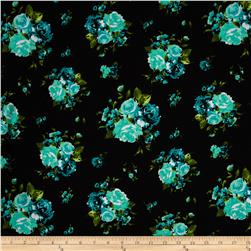 Cotton Spandex Jersey Knit Floral Turquoise/Black/Green/White