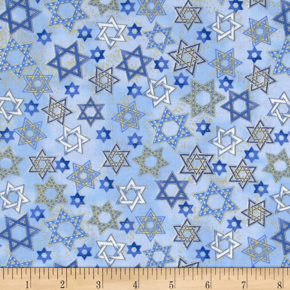 Timeless Treasures Star of David Metallic Blue