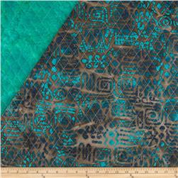 Indian Batik Double Sided Quilted Tribal Print Jade/Brown