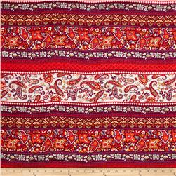 Rayon Challis Paisleys and Florals Orange/Magenta