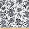 Ink Blossom Whimsy Floral White