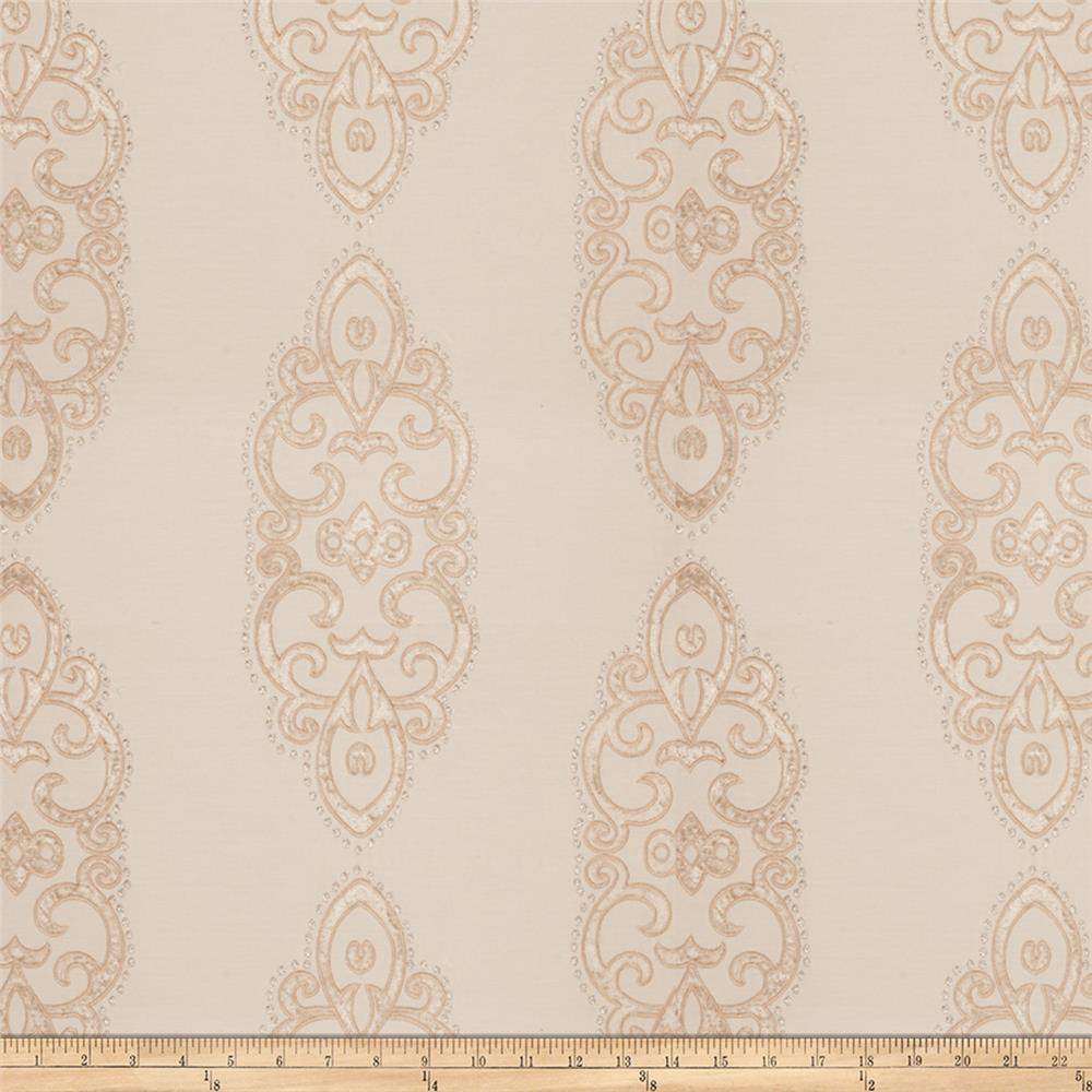 Fabricut Grier Medallion Silk Blend Poplin Embroidered Ecru