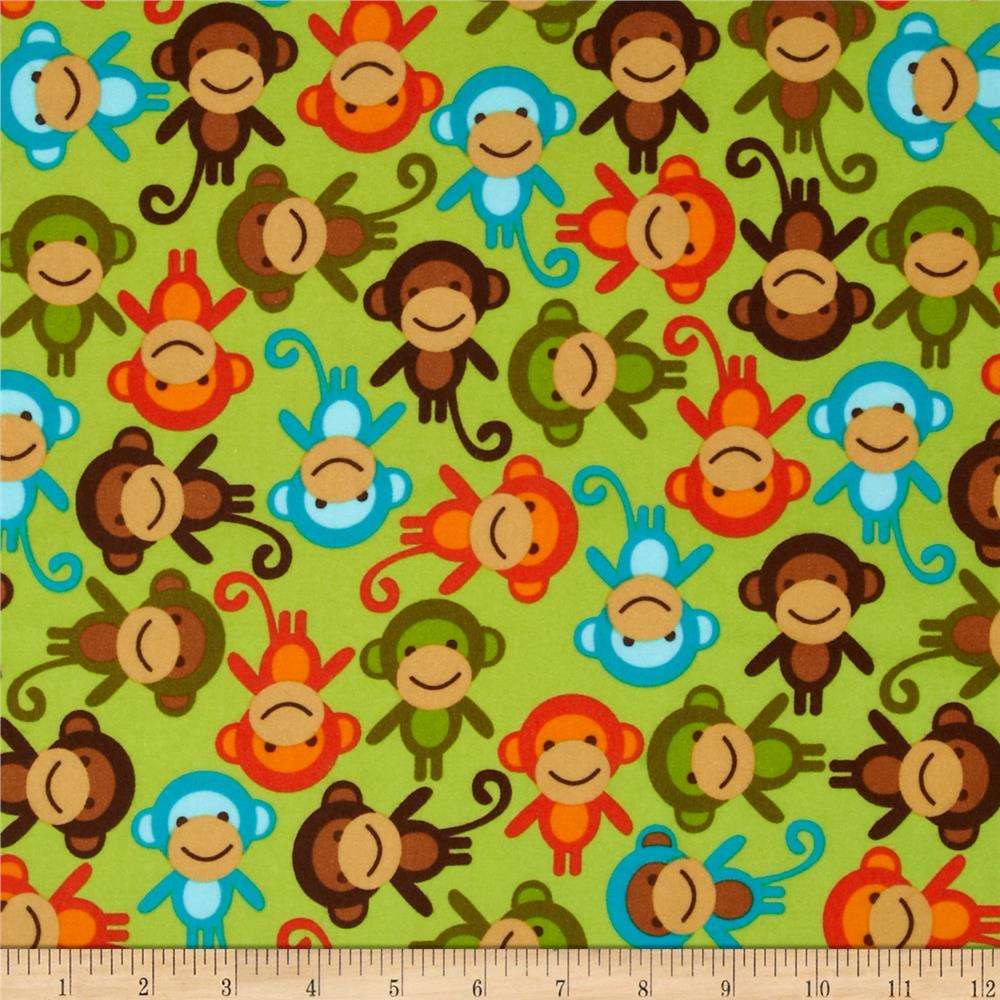 Urban Zoologie Flannel Monkeys Wild Greeb