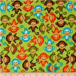 Urban Zoologie Flannel Monkeys Wild Green Fabric