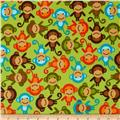 Urban Zoologie Flannel Monkeys Wild Green