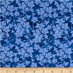 Bright and Early Leafy Vine Blue Fabric