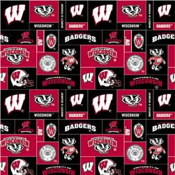 Collegiate Fleece University of Wisconsin Blocks Red/Black