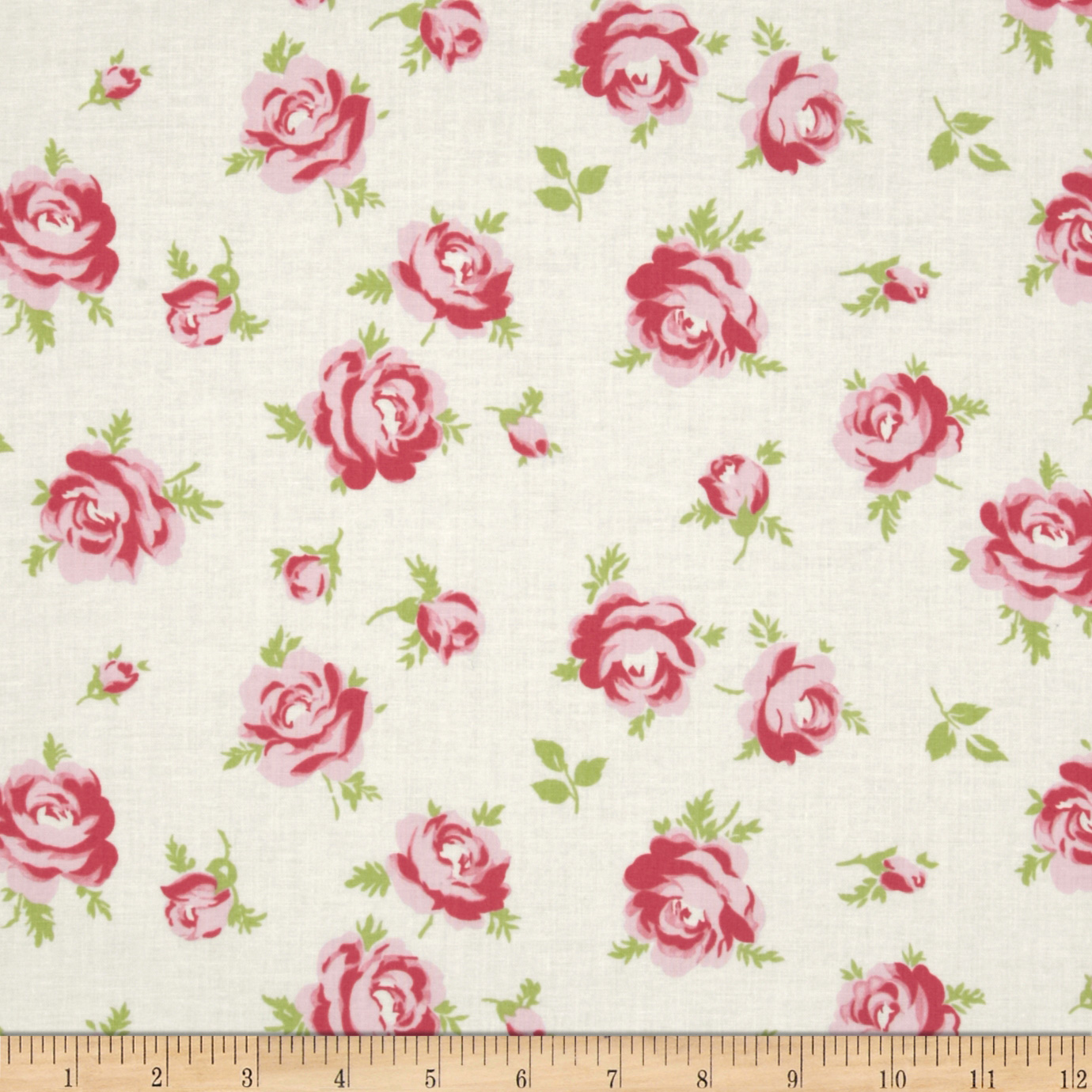 Tanya Whelan Rosey Little Roses Ivory Fabric