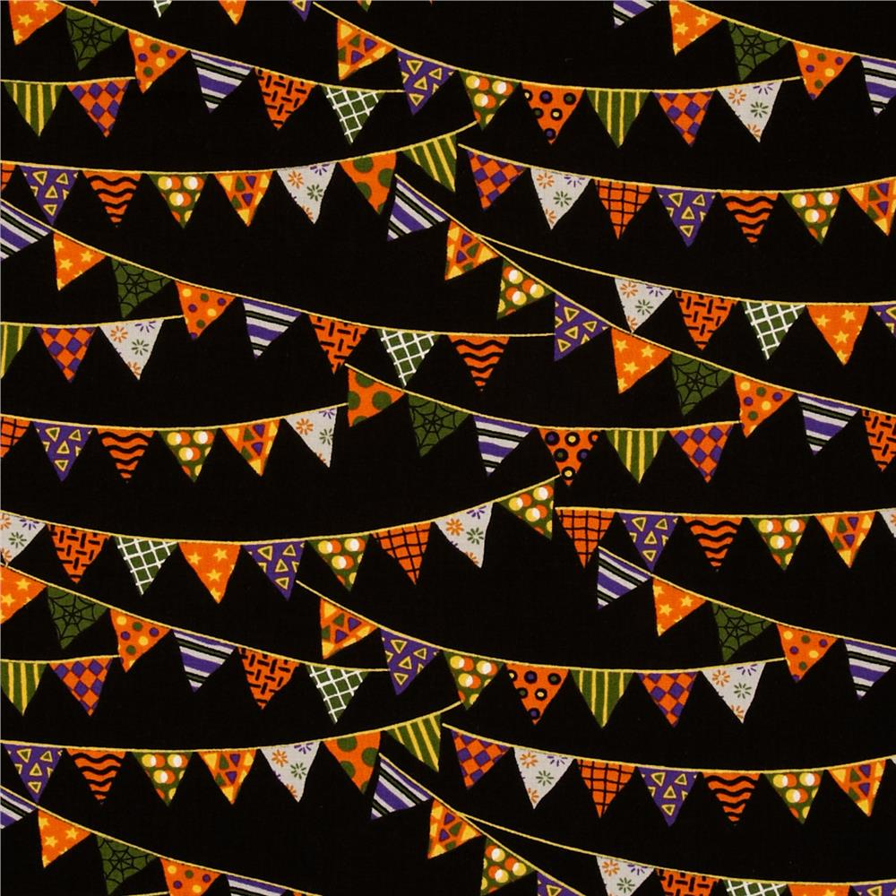 Moda Pumpkin Party Banners Bat Black