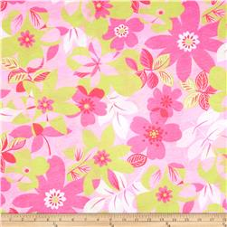 Jersey Knit Flowers Pink/Green
