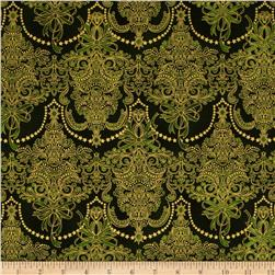 Holiday Flourish Metallic Damask Evergreen Green Fabric