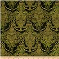 Holiday Flourish Metallic Damask Evergreen Green