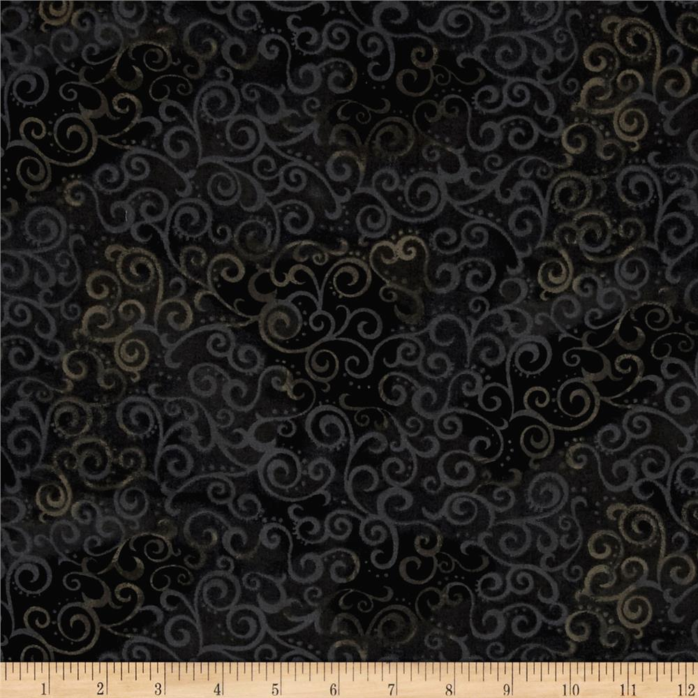 Quilting treasures 108 wide quilt back ombre scroll black for Black fabric