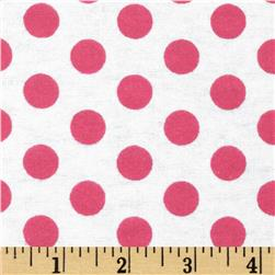 Aunt Polly's Flannel Large Polka Dot White/Pink
