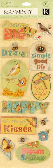 Susan Winget Nature Words Adhesive Chipboard 13/pcs
