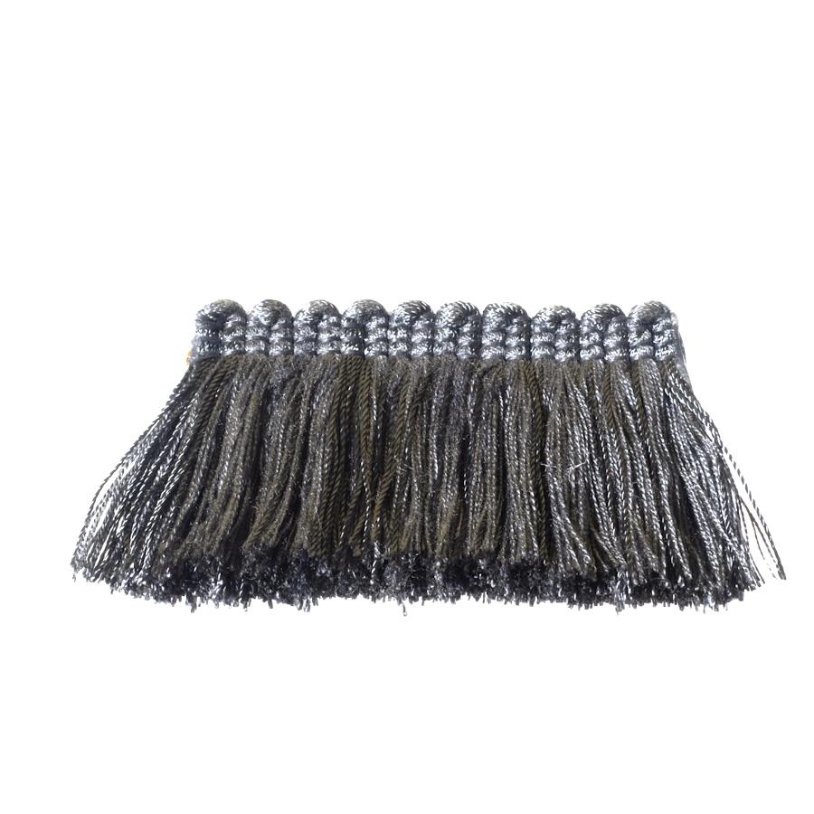 "Fabricut 2"" Everclear Brush Fringe Smoke"