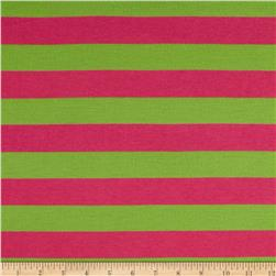 Jersey Knit Stripes Hot Pink/Lime