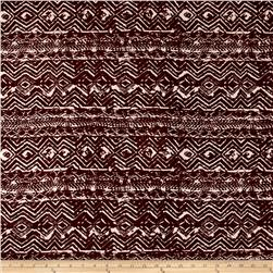 Jersey Knit Abstract Chevron Print Brown