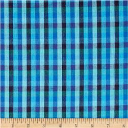 Peppered Cotton Small Check Deep Water Fabric
