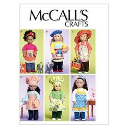 "McCall's 18"" (46cm) Doll Clothes, Bag, Towel and Cat Pattern M6451 Size OSZ"